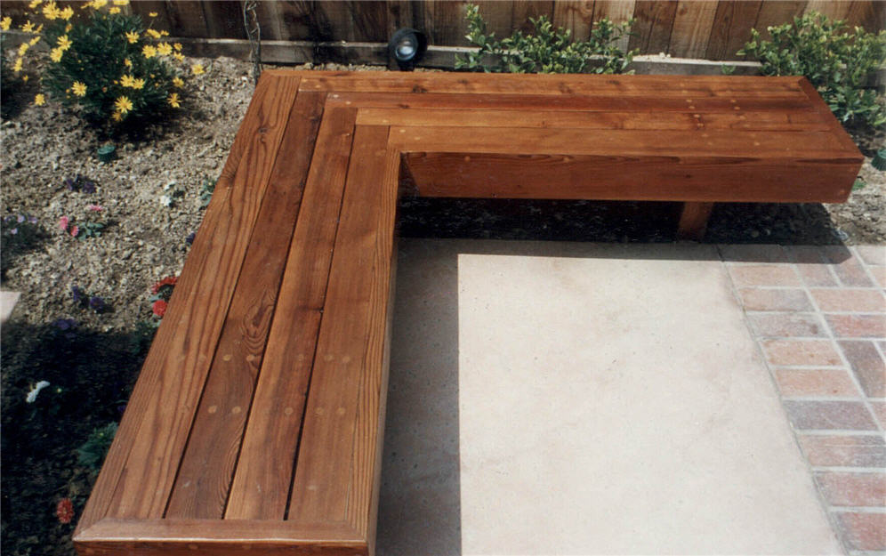Perfect L Shaped Redwood Bench Xk58